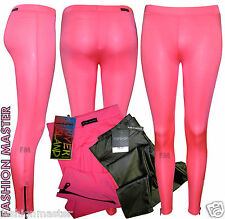 NEW WOMENS LADIES EX RIVER ISLAND TOP SHOP NEON PINK PVC WET LOOK LEGGINGS PANTS