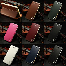 Genuine Real Leather Stand Flip Aluminum Bumper Cover Case For iPhone 6 6 Plus #