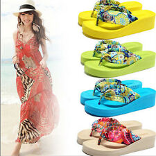 Women High-heeled Thick Flip Flops Sandals Beach Slippers Shoes Size 36 37 38 39