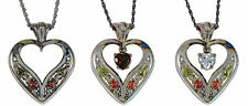 Black Hills Gold  SILVER HEART NECKLACE, No Stone,  Garnet or Cubic Zirconium