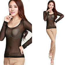 Womens Sexy See-through Sheer Long Sleeve Stretch Mesh Casual Top T Shirt Blouse