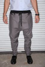 Steel Grey Cotton Fabric - Mens Joggers or Drop Crotch / Harem Pants -Tailored