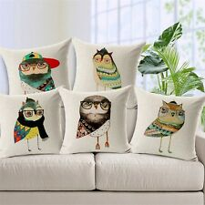 Artwork Clever Owls Throw Pillow Cushion Cover Linen Cotton 45x45cm