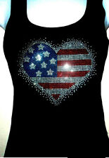 "Women Tank Top  Hotfix rhinestones TANK TOP ""4th of July Heart S to 4XL"""