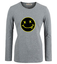 Nirvana Rock Grunge Band Kurt Cobain Smiley Face Design T-Shirt Graphic Tee Top