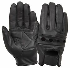 Rothco Black Leather Motorcycle Gloves - Full Finger Biker Gloves 100% Leather