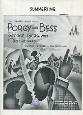 Summertime Porgy and Bess George Gershwin DuBose Heyward 1935 Sheet Music