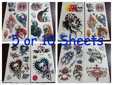 5 or 10 SHEETS BOYS SCARY BIKER SKULL GOTH TEMPORARY TATTOOS PARTY LOOT BAG