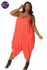 Plus Harem Long One Piece Jumper Romper, Pink, Coral and Blue- Made in U.S.A.