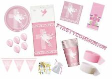 Pink Dove Cross Girls Communion/Confirmation/Christening Party Tableware