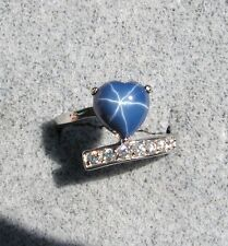 HEART LINDE LINDY CRNFLWR BLUE STAR SAPPHIRE CREATED SECOND RING STAINLESS STEL
