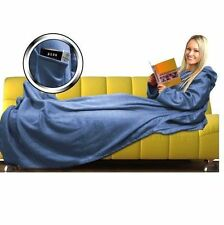 New Super Cosy Body Cuddle Fleece Blanket Plus With Sleeves & Pocket