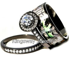 Hers 3 piece Titanium Camo 925 STERLING SILVER Engagement Wedding Rings Set