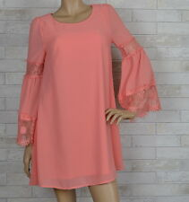 CORAL REEF CHIFFON SHIFT DRESS-LACE BELL SLEEVES-PEACH-S-M-L