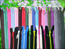 CHUNKY PLASTIC ZIP/OPEN END / ( CHOICE OF LENGTH & COLOUR )/ FREE POSTAGE