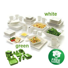 Set Dinner Dinnerware 45 Piece Plates Square Dishes Modern Pcs Dishwasher Safe