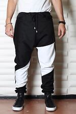Black and White Sweatpants - Mens Joggers or Drop Crotch /Harem Pants