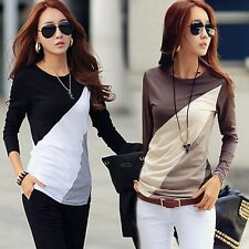 New Lady Women's Long Sleeve Crew Neck Casual Blouse Top Shirt TEE Size 68101214