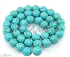 Natural Round Blue Turquoise Jewelry Loose Gemstone Stone Beads strand 15""