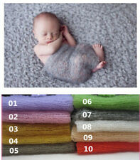 * Mohair *Wool stretch knit wrap newborn photo prop baby blanket Hand Knit