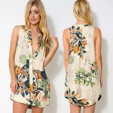 Sexy Women Floral Print Deep V Neck Button Closure Front Asymmetric Hem Dress SP