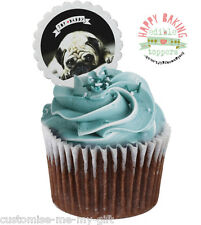 12 Top Dad PUG Cupcake Toppers can Personalise | fathers Day | Birthday