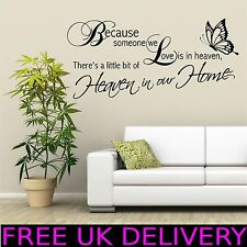 Heaven Home Family Wall Quotes Wall Art Stickers Decal Transfer Mural Stencil