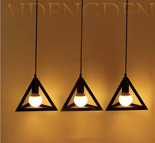 VINTAGE INDUSTRIAL METAL BLACK LOFT CEILING LIGHT SHADE TRIANGLE PENDANT LIGHT