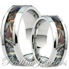 His & Her Titanium Oak Hunter Camouflage Mossy Tree Camo Hunting Wedding Ring