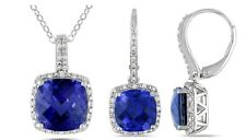 Sterling Silver Cushion Cut Diamond Blue Sapphire Fashion Pendant Earring Set