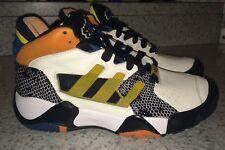 NEW Mens 10 ADIDAS Streetball Chalk Off White Black Basketball Shoes Sneakers