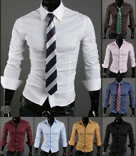 Hot Fashion Mens Luxury Stylish Long Sleeve Slim Fit Casual Dress Shirts Stylish