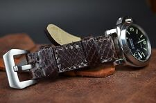 MA WATCH STRAP 24MM REAL PYTHON SNAKE LEATHER HANDMADE BAND FITS PANERAI BROWN