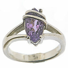 925 Sterling Silver 1.1 Ct Natural Amethysts Classic Elegant Ring