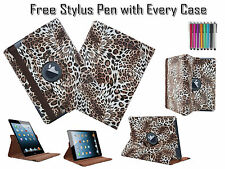 360° Rotating Cheetah Printed Leather Folio Case Cover For Apple iPad 2 3 & 4 UK