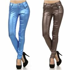Virgin Only Skinny Metallic Studded Faux Leather Pants Blue, Bronze S, M, L, XL