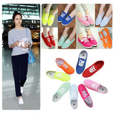 Colorful Womens Girls Canvas Shoes Sneakers Lace Up Casual Flat Trainers AU 3-7
