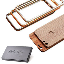 """Deluxe Wood Back Cover Sticker + Metal Frame Bumper Case for iPhone 6 Plus 5.5"""""""