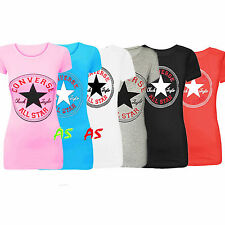 Ladies Womens Converse Star Cap Sleeves Racer Back Muscle Vest Tank T Shirt Top