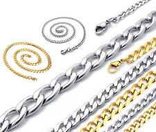"""4-8mm 18-30"""" Mens Womens Children Unisex Silver Curb Link Chain Necklace"""