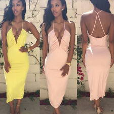 2015 New Sexy Women Halter VNeck Backless Bodycon Party Clubwear Calf Long Dress
