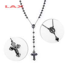 "Men's Stainless Steel Men's 28 ""& 5"", 3-8mm Black Beads Rosary Necklace R001B"