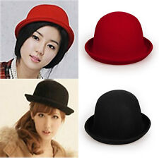 Wool Adults Black Red Bowler Hat Mens Womens Fashion cap Vintage Derby Hat