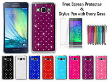 Diamond Patterned Gem Bling Chrome Back Case Cover For Samsung Galaxy A3 A300F