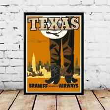 1928 Texas Braniff Airways Vintage Travel Poster - Multiple Sizes