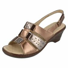 Ladies F3108 Bronze/pewter sling back sandals by Eaze