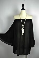 *ON SALE* OS CINDY INDIAN TROPICAL RUFFLE OFF SHOULDER TUNIC BLACK