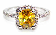 Silver Yellow Sapphire And Diamond 2.07ct Cluster Ring (925)