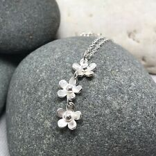 Silver Flower Necklace - Sterling Daisy Chain Pendant Handmade Delicate 925