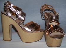 New Womens Madison Copper Metallic Strappy Platform Sandals Shoes Sz 7.5, 8.5, 9
